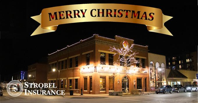 Strobel Building at Christmas